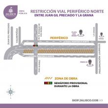 Mapa con las restricciones en Periférico Norte.