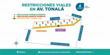 A partir del domingo 26 de marzo a las 23:00 horas, se cerrará la lateral sur de la Avenida Tonalá de Av. Tonaltecas al cruce de las calles Cruz Blanca y Francisco I. Madero.