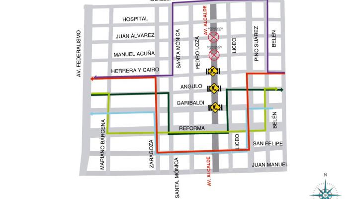 Mapa de las rutas alternas para automovilistas.